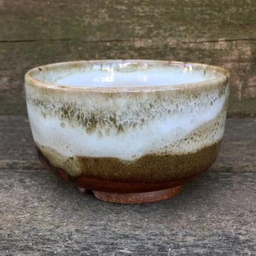 Tea bowl (Shaner white over tenmoku)
