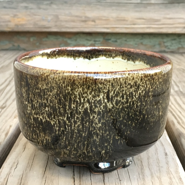 Tea bowl with carved foot (Shaner white and double tenmoku) *n/a