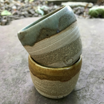 Agateware sake cups (celery and St. John's yellow over raw marbled stoneware) *n/a