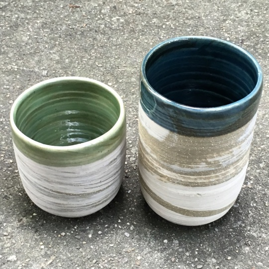 Agateware tumblers (light green and Adero's blue oribe over marbled stoneware, oxidation) *n/a