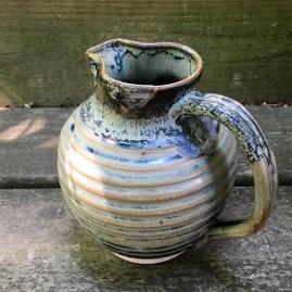 Cider jug (shino over Cheryl's blue green) *n/a