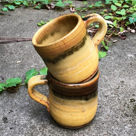 Large mugs (tenmoku and iron red over sunshine yellow) *n/a