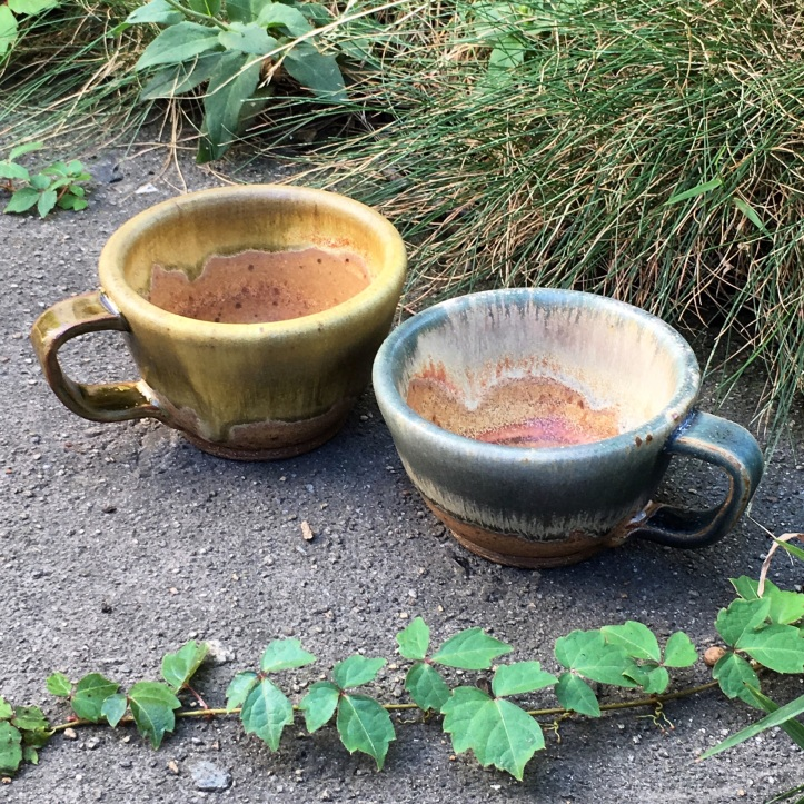 Tea cups (Ben's amber and Persian blue over spodumene) *n/a