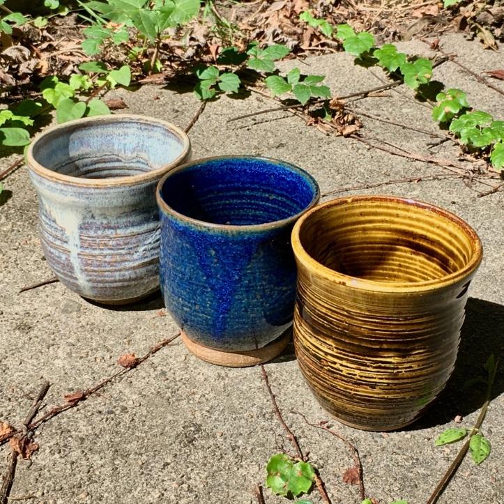 Tea cups/tumblers (light blue rutile, vellum blue, Ben's amber) *n/a