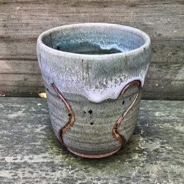 Carved tea cup (celery glaze) *n/a