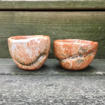 Hand-formed tea bowls with pine branch impressions (shino glaze with wood ash) *n/a
