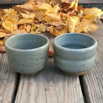 Wavy and waisted tea bowls (celadon glaze) *n/a