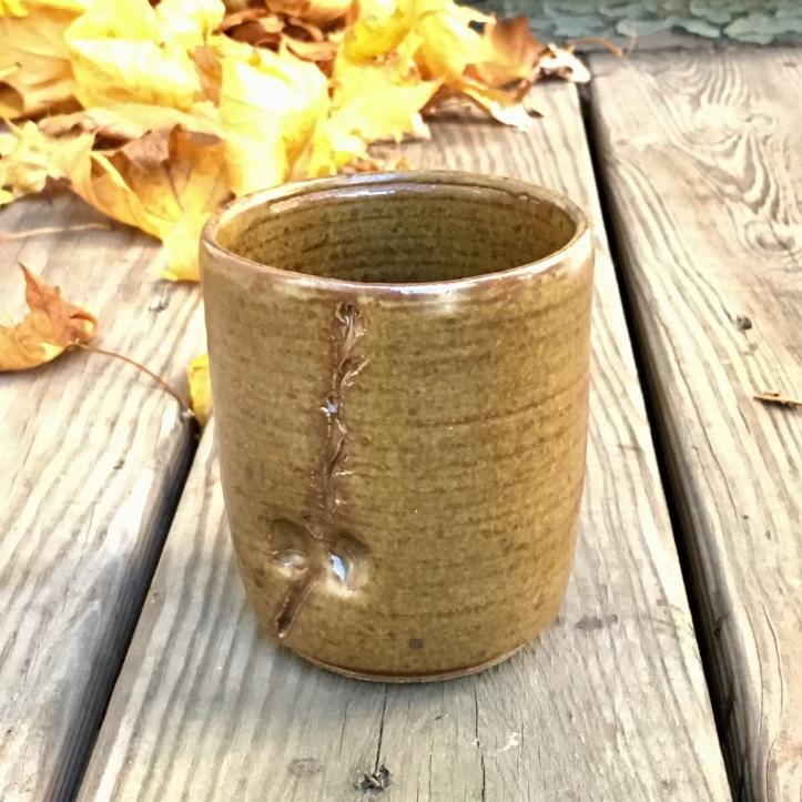 Vase with oak branch and acorn impression (St. John's yellow glaze)