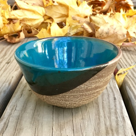 Bowl (Shaner blue green over raw stoneware) *n/a