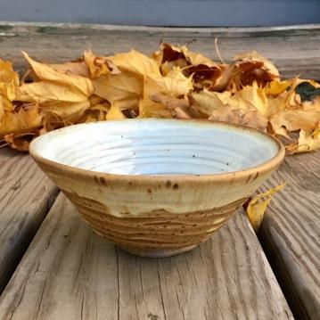 Spiral summer tea bowl (Shaner white over spodumene)