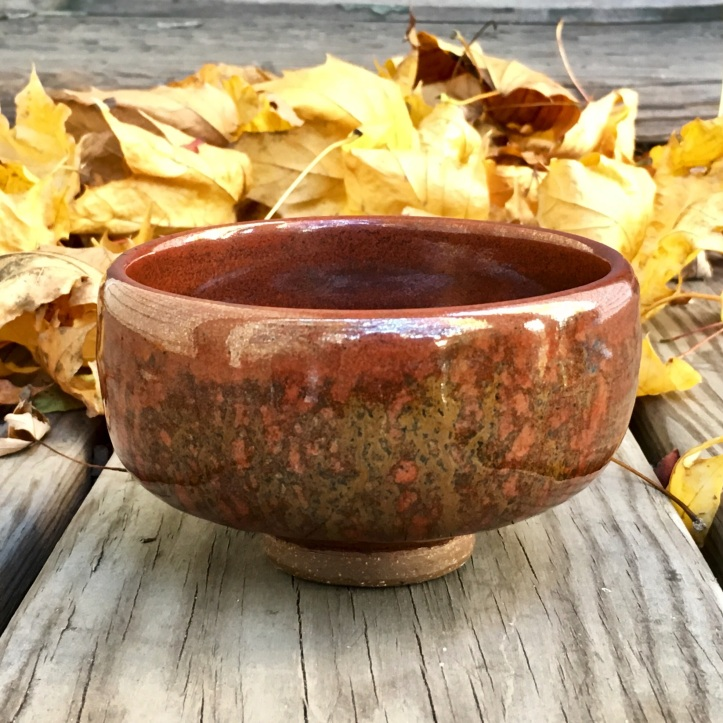 Tea bowl with foot (iron red with wood ash)