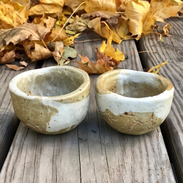 Hand-formed tea cups (marbled clay with clear glaze) *n/a