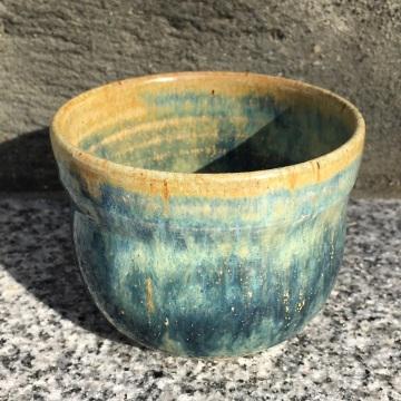Waisted tea bowl (Anne's orange over light blue rutile) *n/a