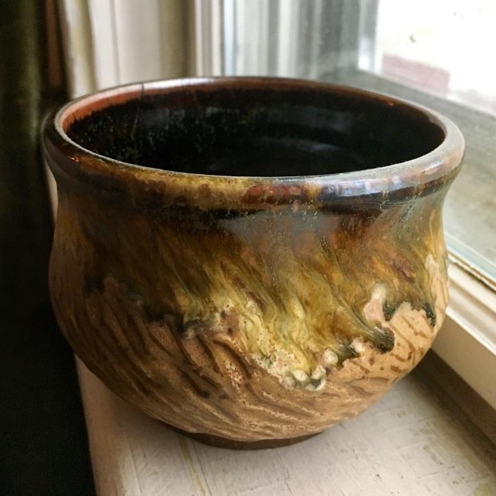 Carved tea bowl (tenmoku over spodumene) *n/a