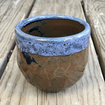 Rounded chiseled tea cup (Shaner white over vellum blue) *n/a