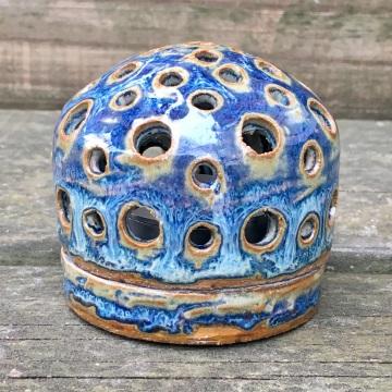 Tea light base and dome (light blue rutile) *n/a