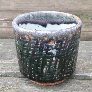 Textured tea cup (Shaner white and Persian blue)