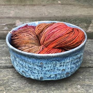 Carved yarn bowl (celery over celadon) *n/a
