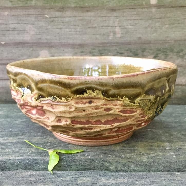 Carved square bowl (bens amber over spodumene)